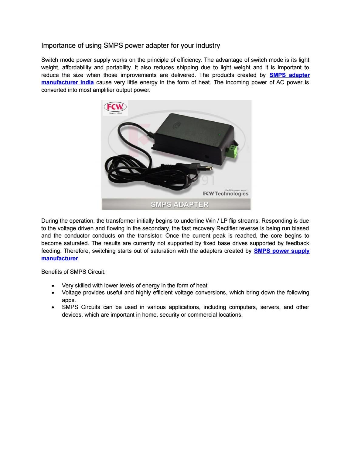 Importance of using SMPS power adapter for your industry by