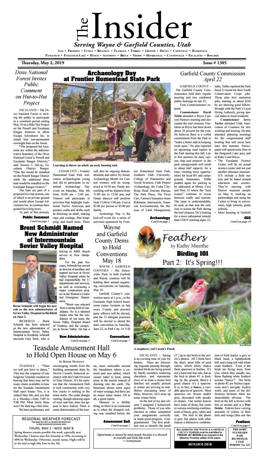 The Wayne & Garfield County Insider May 2, 2019 by Snapshot