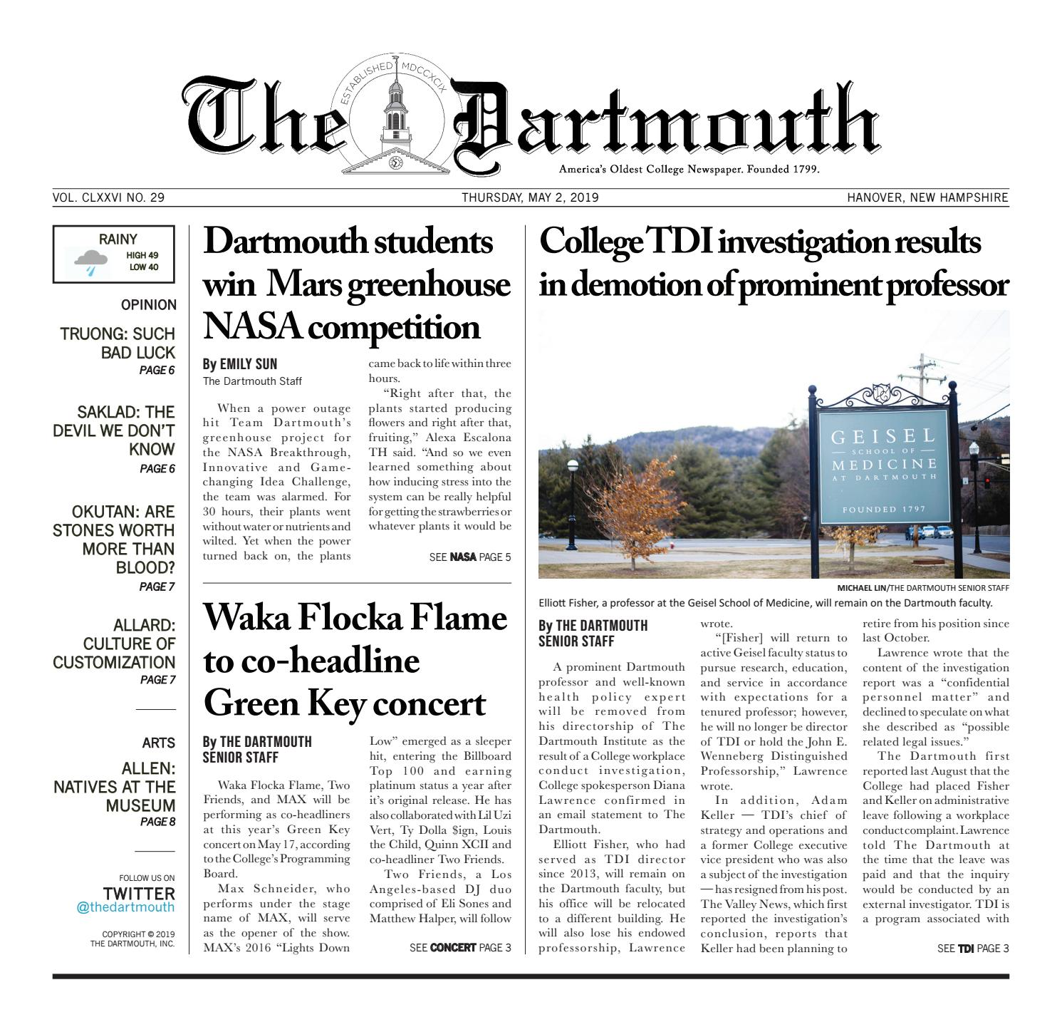 The Dartmouth 05/02/2019 by The Dartmouth Newspaper - issuu