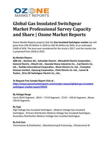 Global Gas Insulated Switchgear Market Professional Survey Capacity
