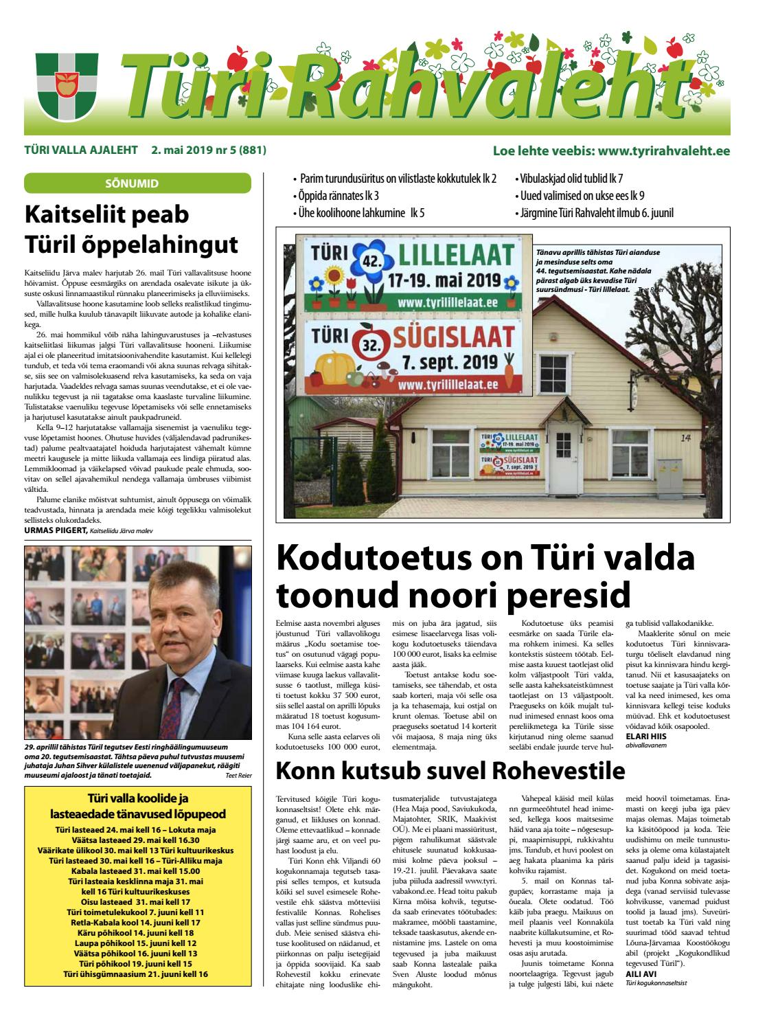 0cf1d0698ce 02.05.2019 Türi Rahvaleht by Tyri Development Agency - issuu