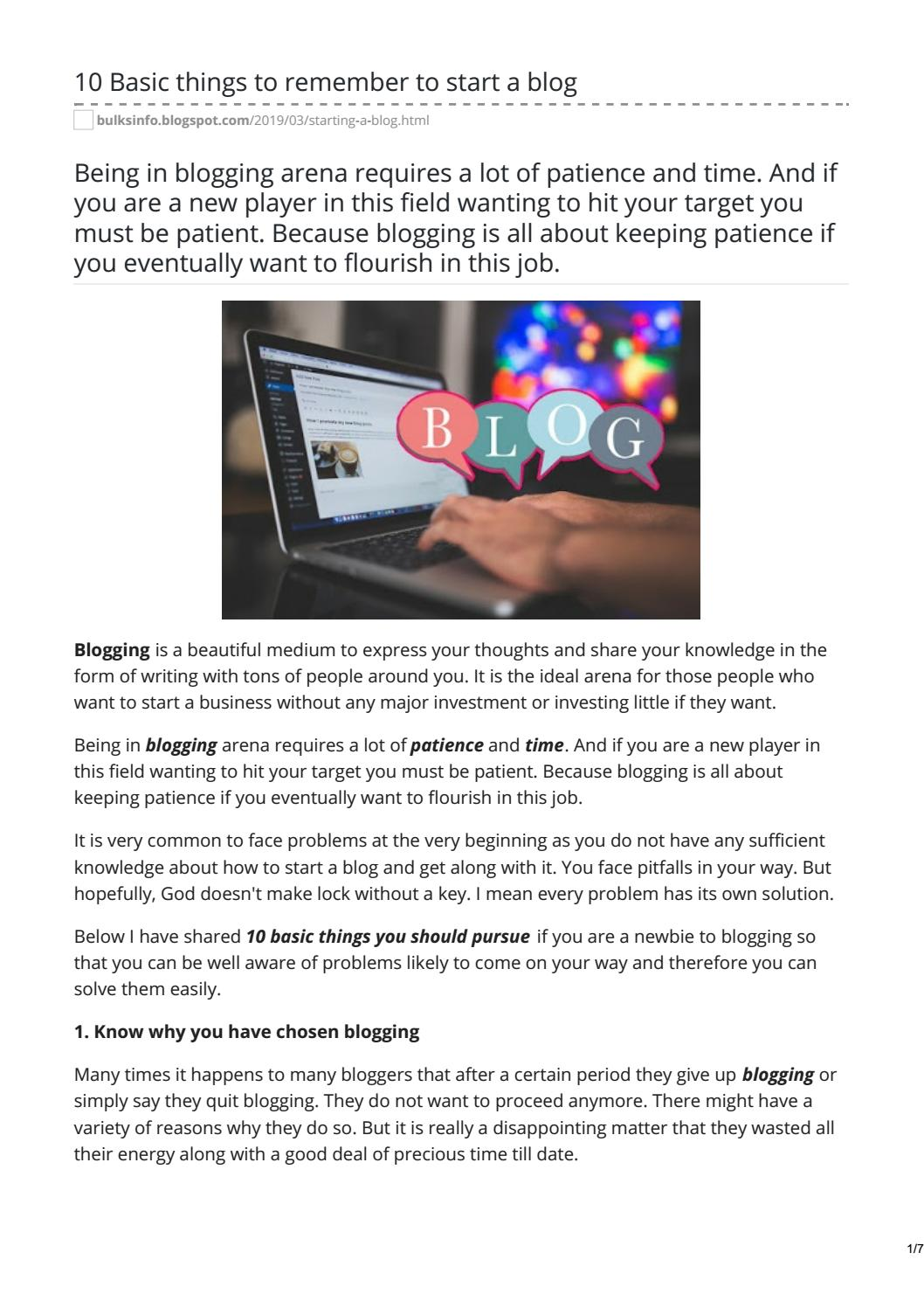 10 Basic Things to Remember to Start a Blog by rupamsardar159 - issuu
