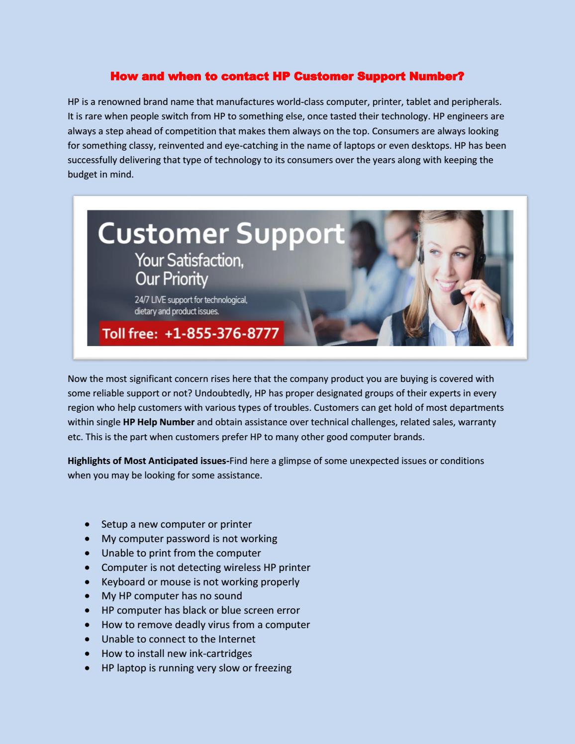 How and when to contact HP Customer Support Number? by Alina Frank