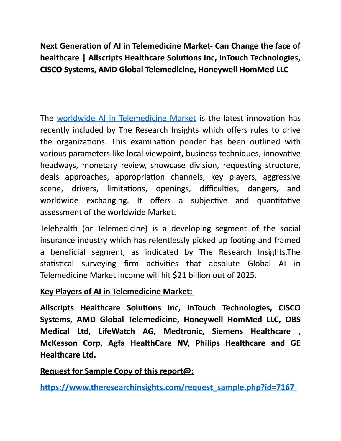 AI in Telemedicine Market by Apurva Phulari - issuu