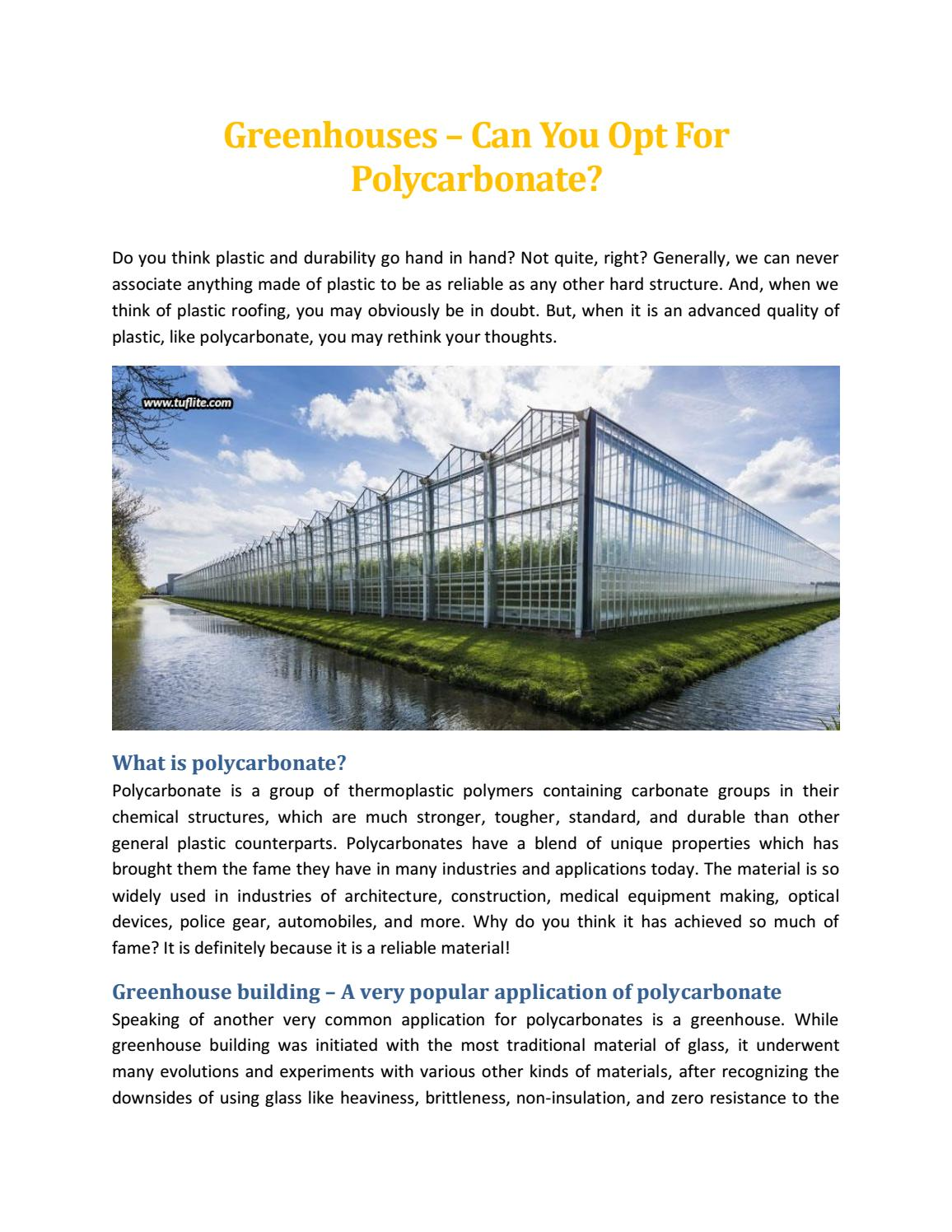 Greenhouses – Can You Opt For Polycarbonate - Tuflite