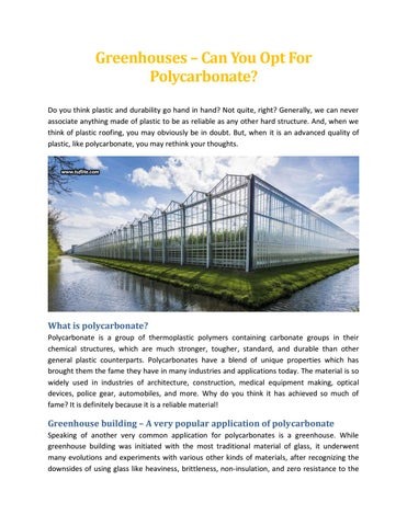 Greenhouses – Can You Opt For Polycarbonate - Tuflite Polymers by