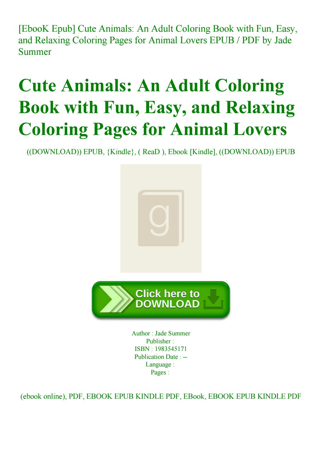 - EbooK Epub] Cute Animals An Adult Coloring Book With Fun Easy And