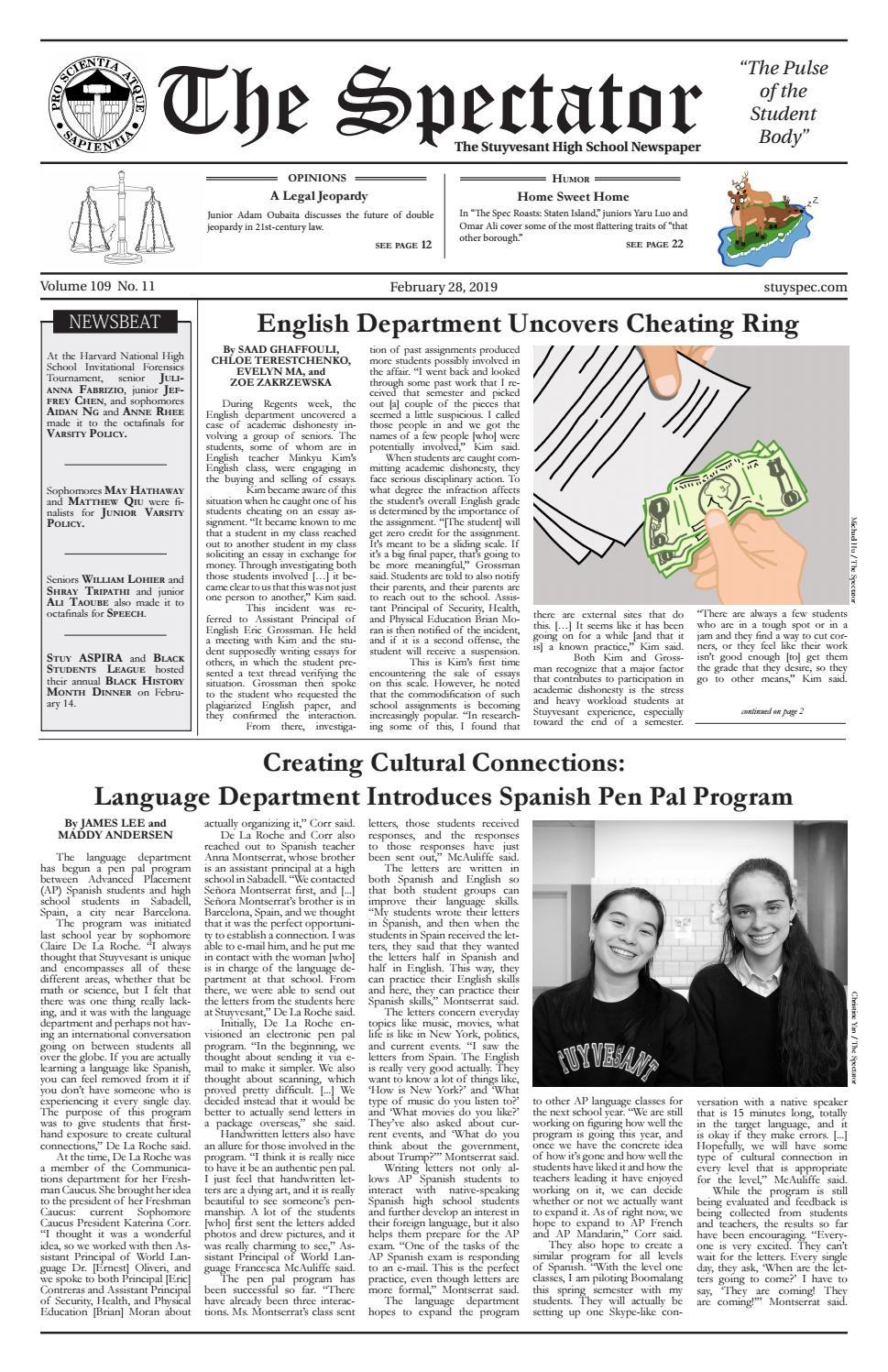 Volume 109, Issue 11 by The Stuyvesant Spectator - issuu