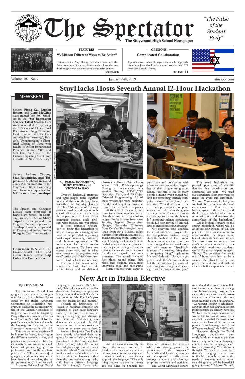 Volume 109, Issue 9 by The Stuyvesant Spectator - issuu