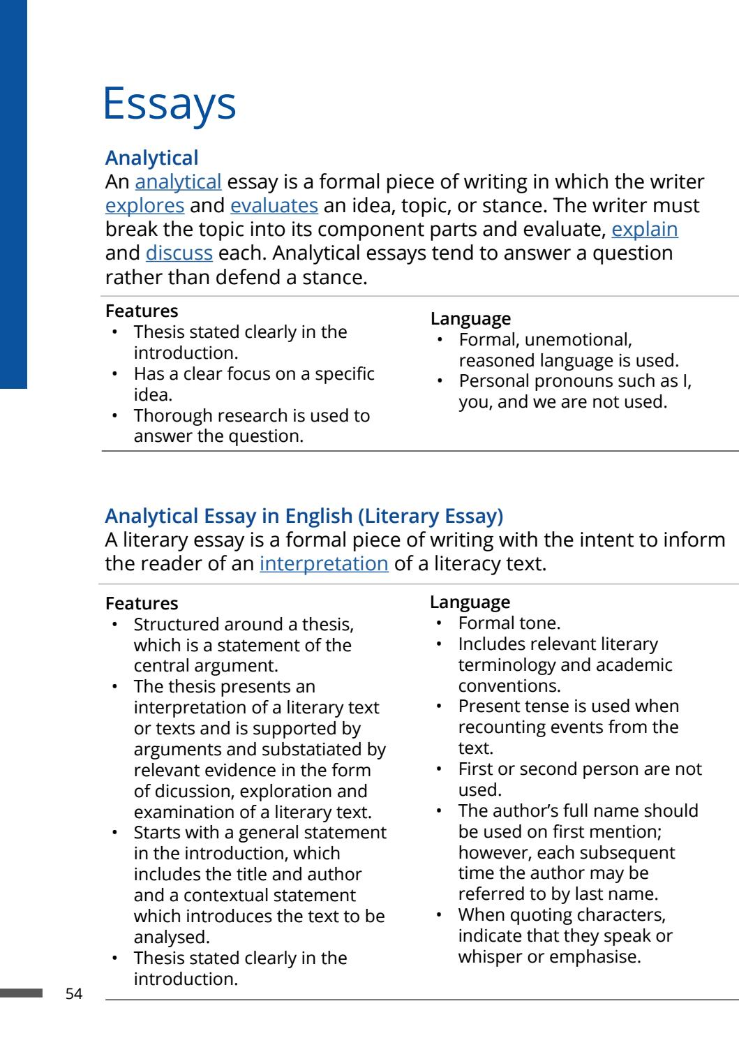 The Key Features that Make Your Essay Analytical