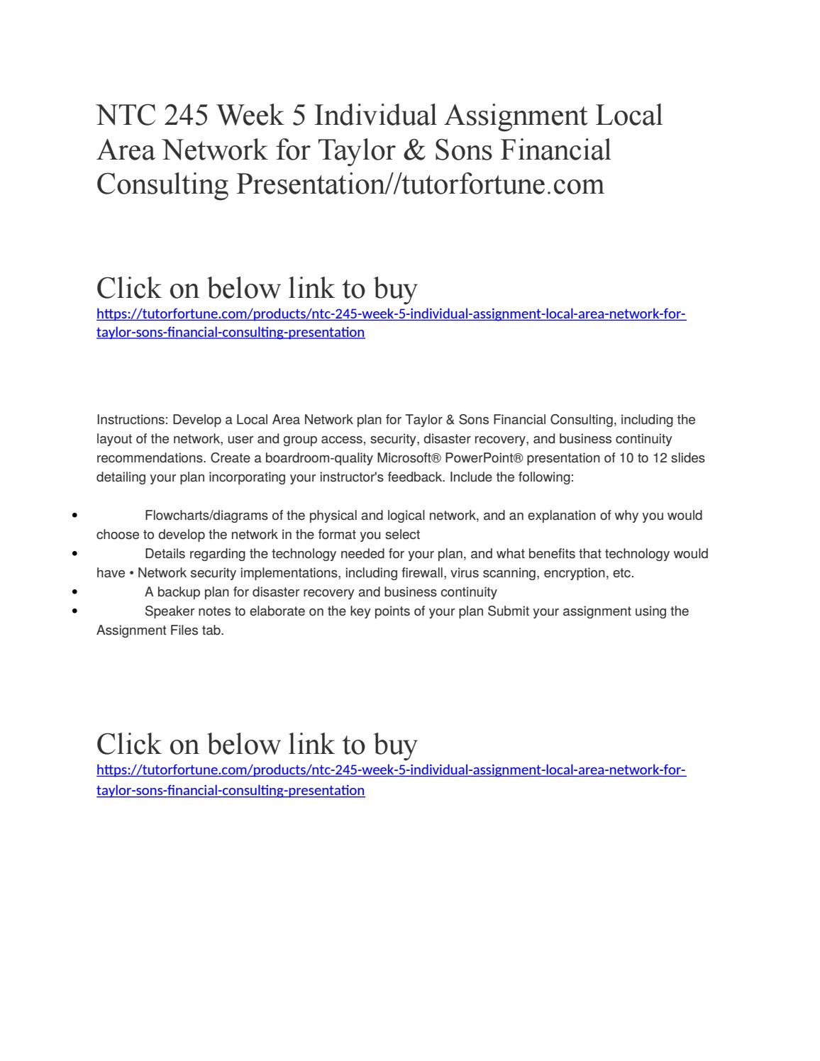 NTC 245 Week 5 Individual Assignment Local Area Network for