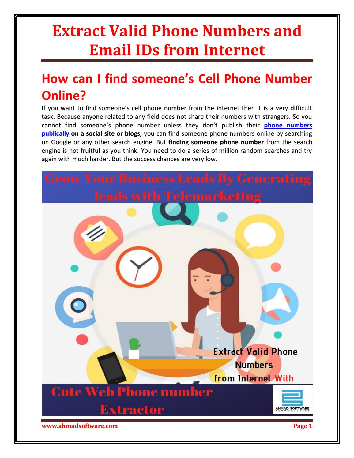 Extract Valid Phone Numbers and Email IDs from Internet by