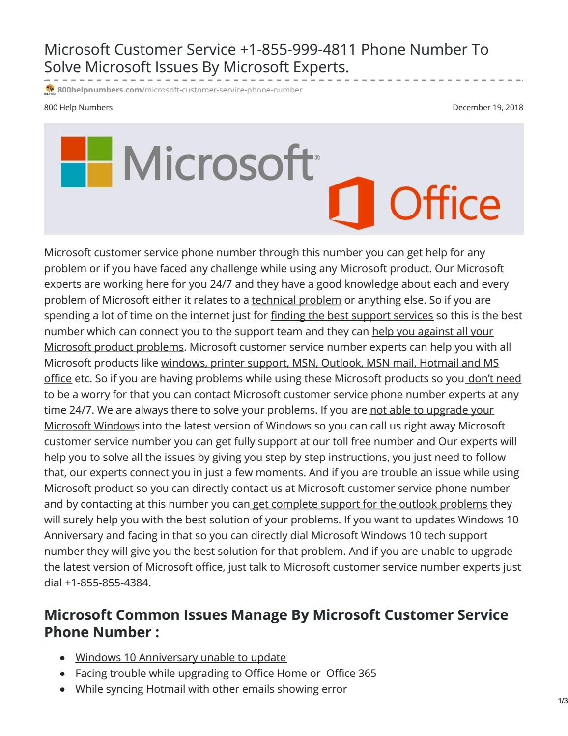 Microsoft Customer Service +1-855-999-4811 Phone Number To Solve