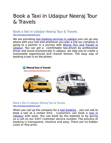 Book a Taxi in Udaipur Neeraj Tour & Travels by kajal
