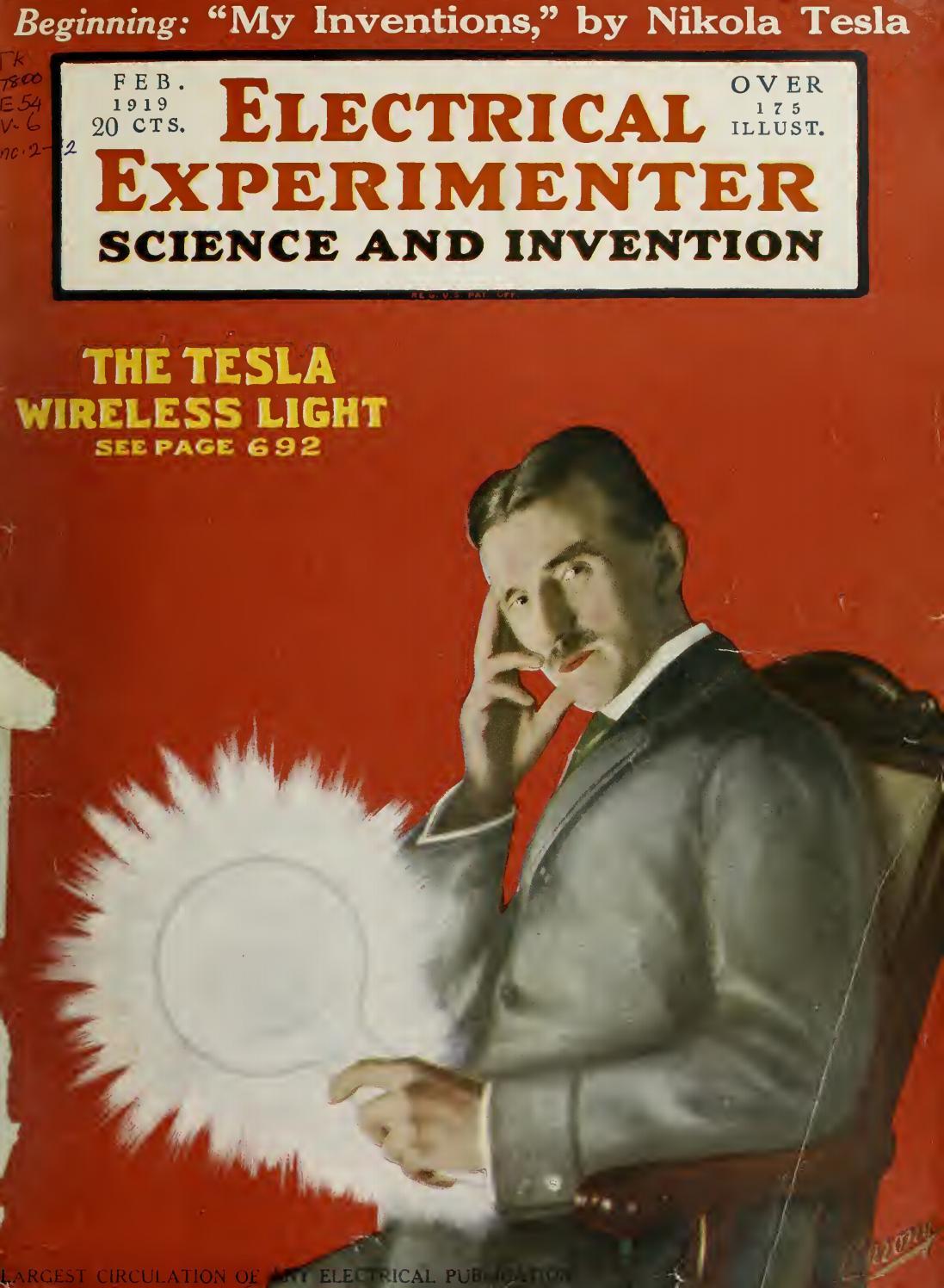 Tesla Experiments Cover of The Experimenter NWT Sizes /& Styles Nikola Tesla