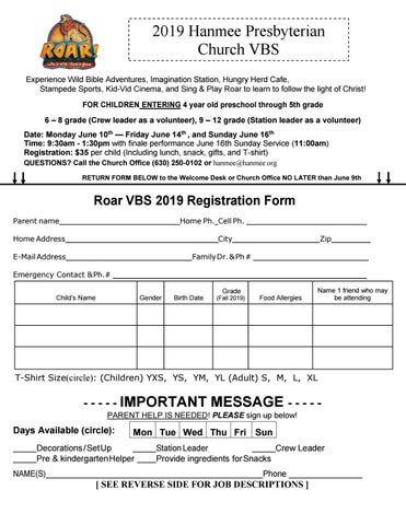VBS 2019 Registration Form by grasoo - issuu