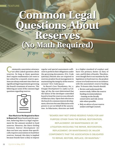 Page 32 of Common Legal Questions About Reserves (No Math Required) By By Laurie S. Poole, Esq., CCAL
