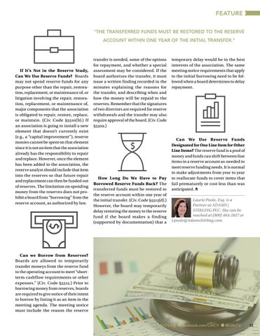 Page 33 of Common Legal Questions About Reserves (No Math Required) By By Laurie S. Poole, Esq., CCAL