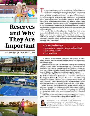 Page 34 of Reserves and Why They Are Important  By Lisa Glogow, CMCA, AMS, CCAM