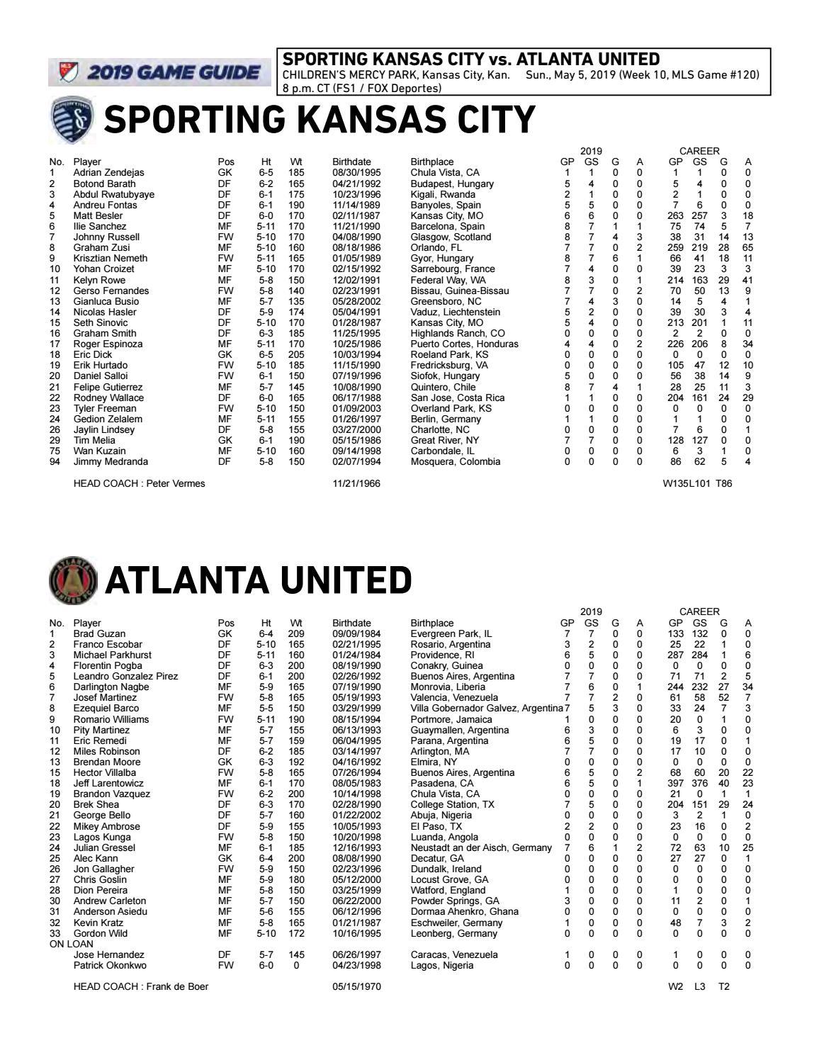 Match Notes: Sporting vs  Atlanta United FC | May 5, 2019 by