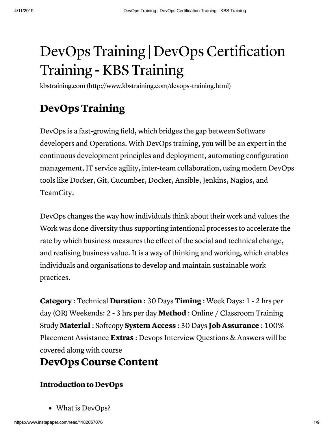 Devops Online Training at KBS Training by smileyswetha2 - issuu