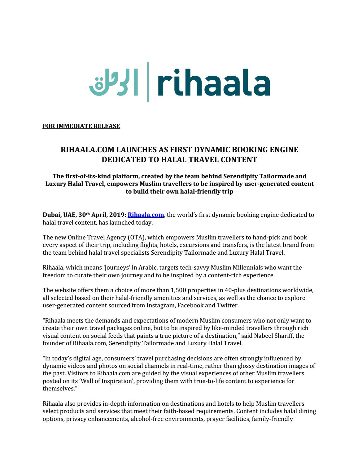 Rihaala Launches as First Halal Friendly Dynamic Booking