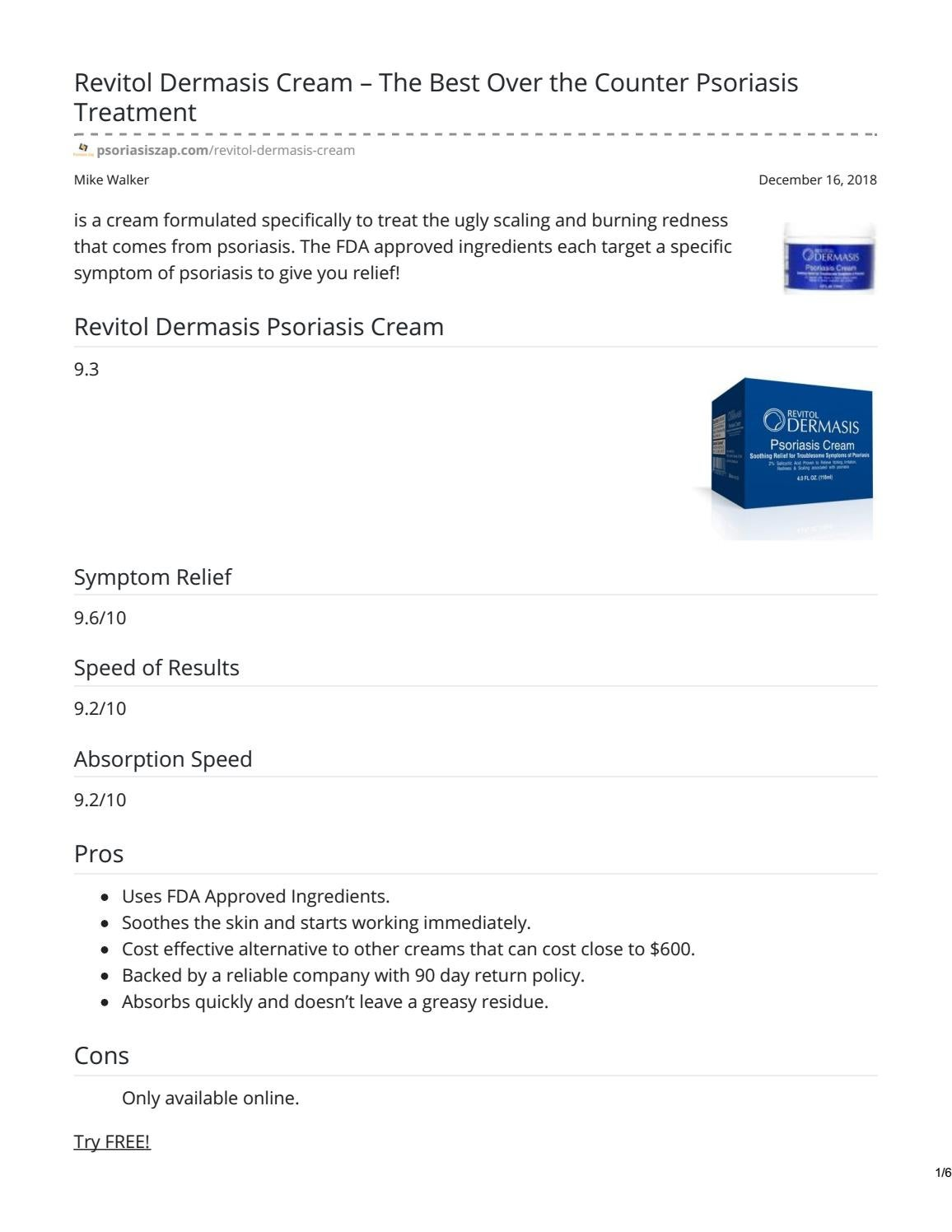 Revitol Dermasis Cream The Best Over The Counter Psoriasis