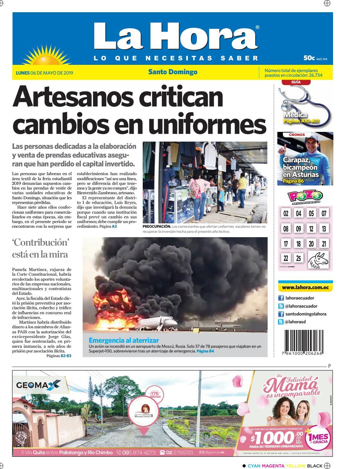 646589ab8489 Santo Domingo 06 de mayo de 2019 by Diario La Hora Ecuador - issuu