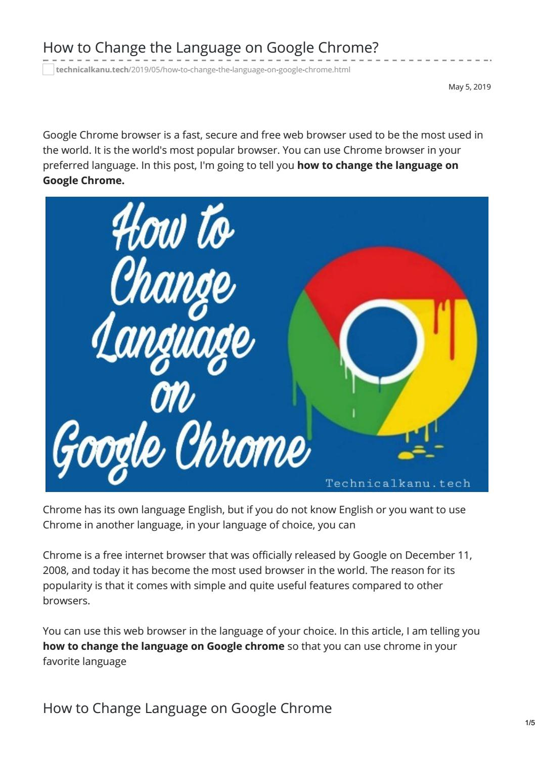 How to Change the Language on Google Chrome? by Technical