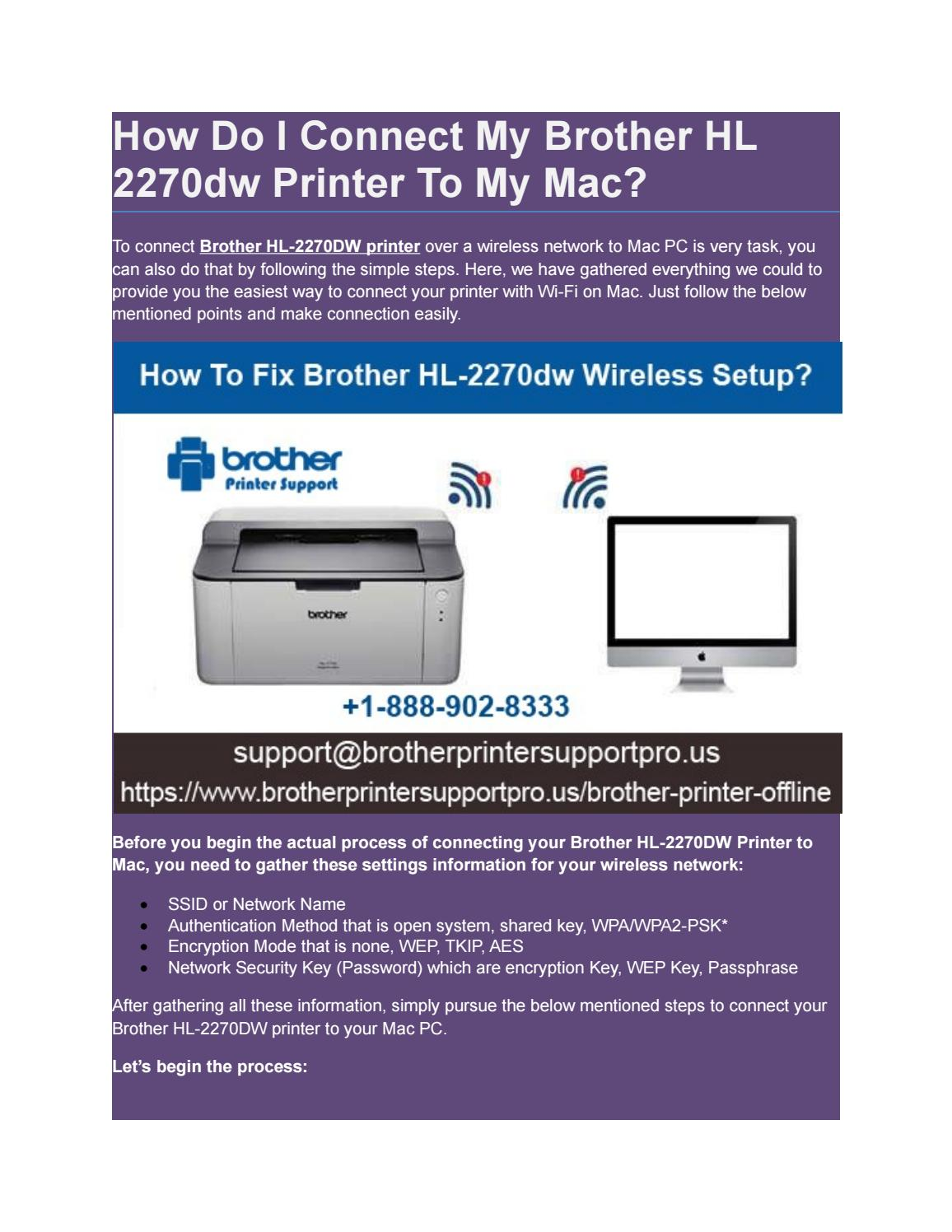 How Do I Connect My Brother HL 2270dw Printer To My Mac? by