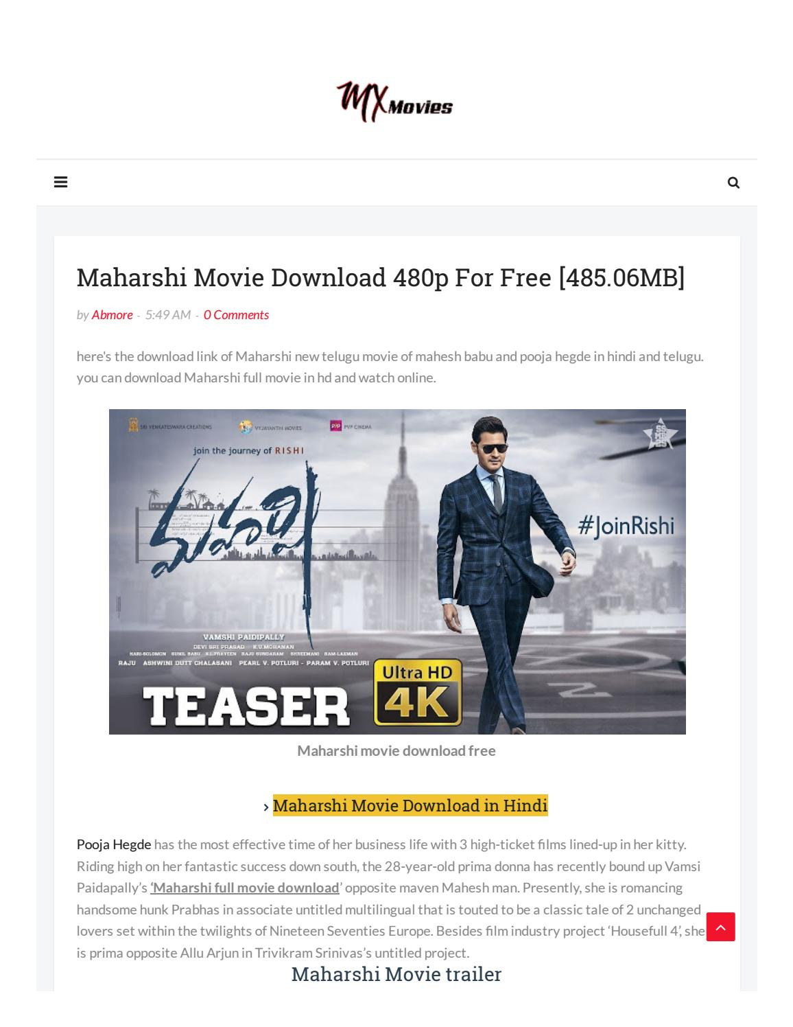 Maharshi Movie Download 480p For Free By Only Baba Issuu