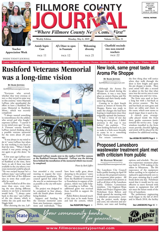 Fillmore County Journal 5 6 19 By Jason Sethre Issuu