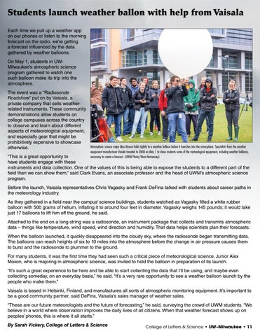 Page 11 of Students launch weather balloon with help from Vaisala