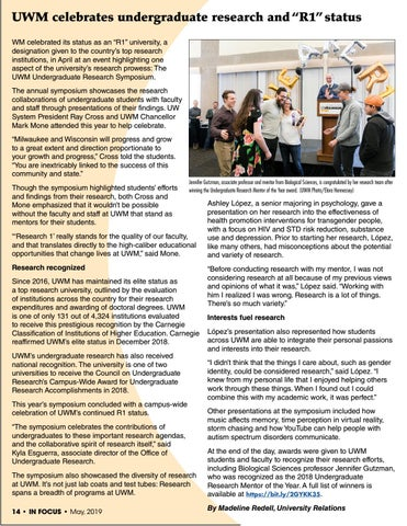 "Page 14 of UWM celebrates undergraduate research and ""R1"" status"