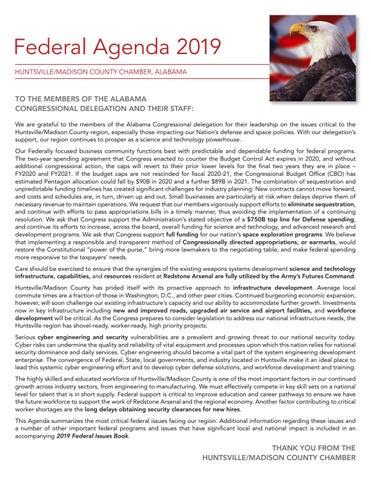 2019 Federal Agenda by Huntsville/Madison County Chamber - issuu