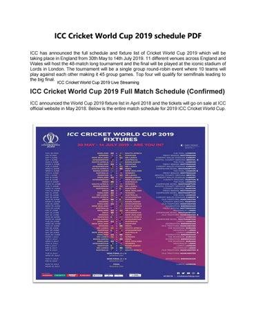 icc cricket world cup 2019 schedule pdf download