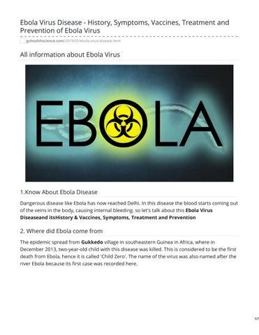 Ebola Virus Disease - History, Symptoms, Vaccines, Treatment and