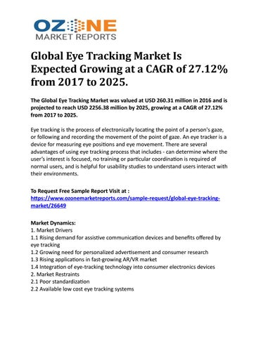 2b6f9ea31c35a Global Eye Tracking Market Is Expected Growing at a CAGR of 27.12% from  2017 to 2025.