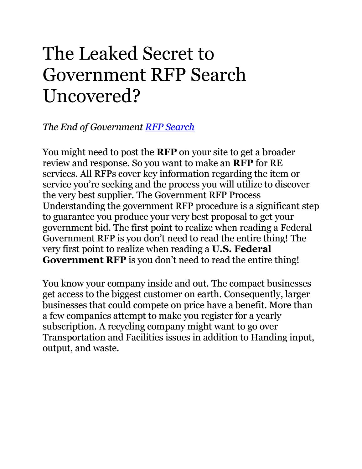 RFP Gurus | Find RFP Bid Sites | Government Request for Proposal by