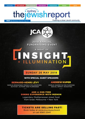 Sydney Embraces Thoughtful Darkness >> The Sydney Jewish Report May Edition 2019 By Thejewishreport Issuu