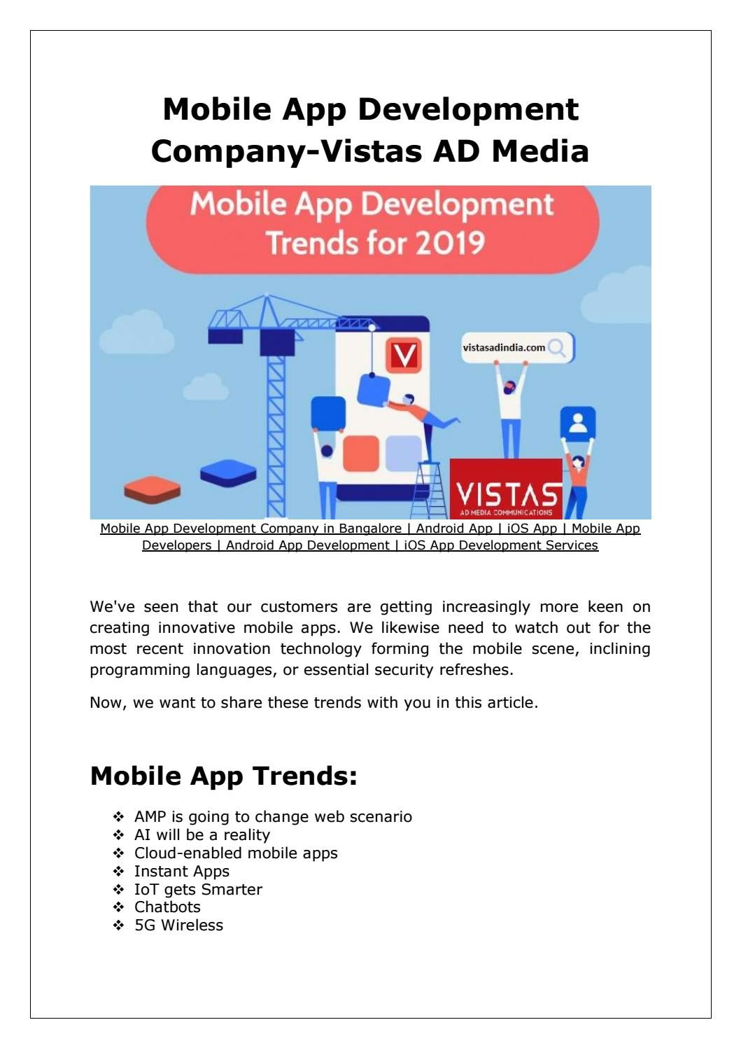 Mobile App Development Trends in 2019 by vistasadindia - issuu