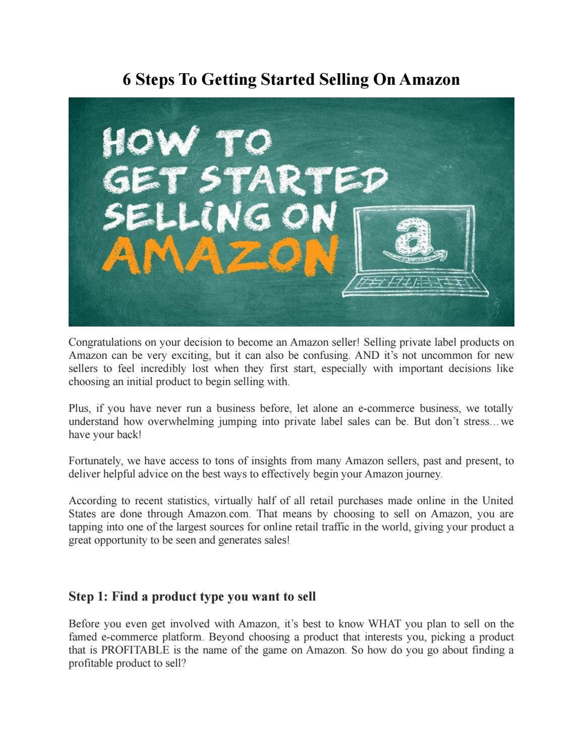 steps to sell on amazon