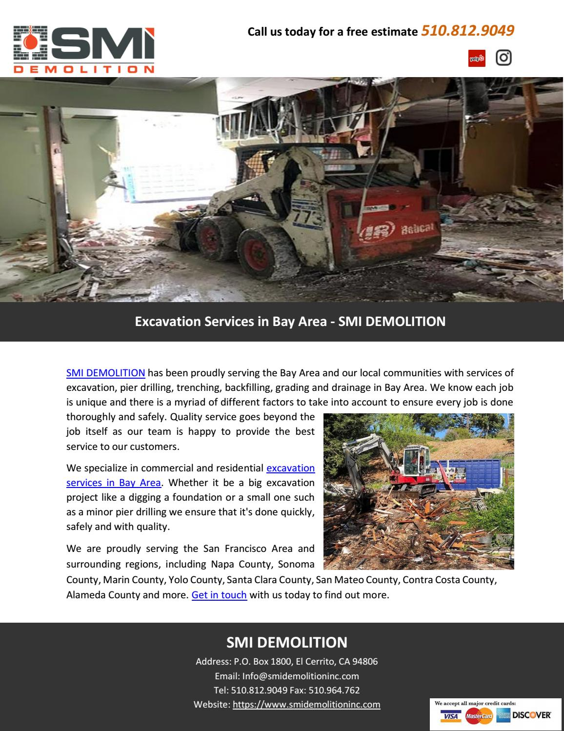Excavation Services in Bay Area - SMI DEMOLITION by SMI