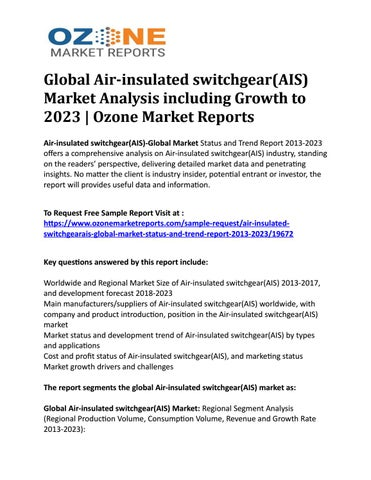 Global Air-insulated switchgear(AIS) Market Analysis including