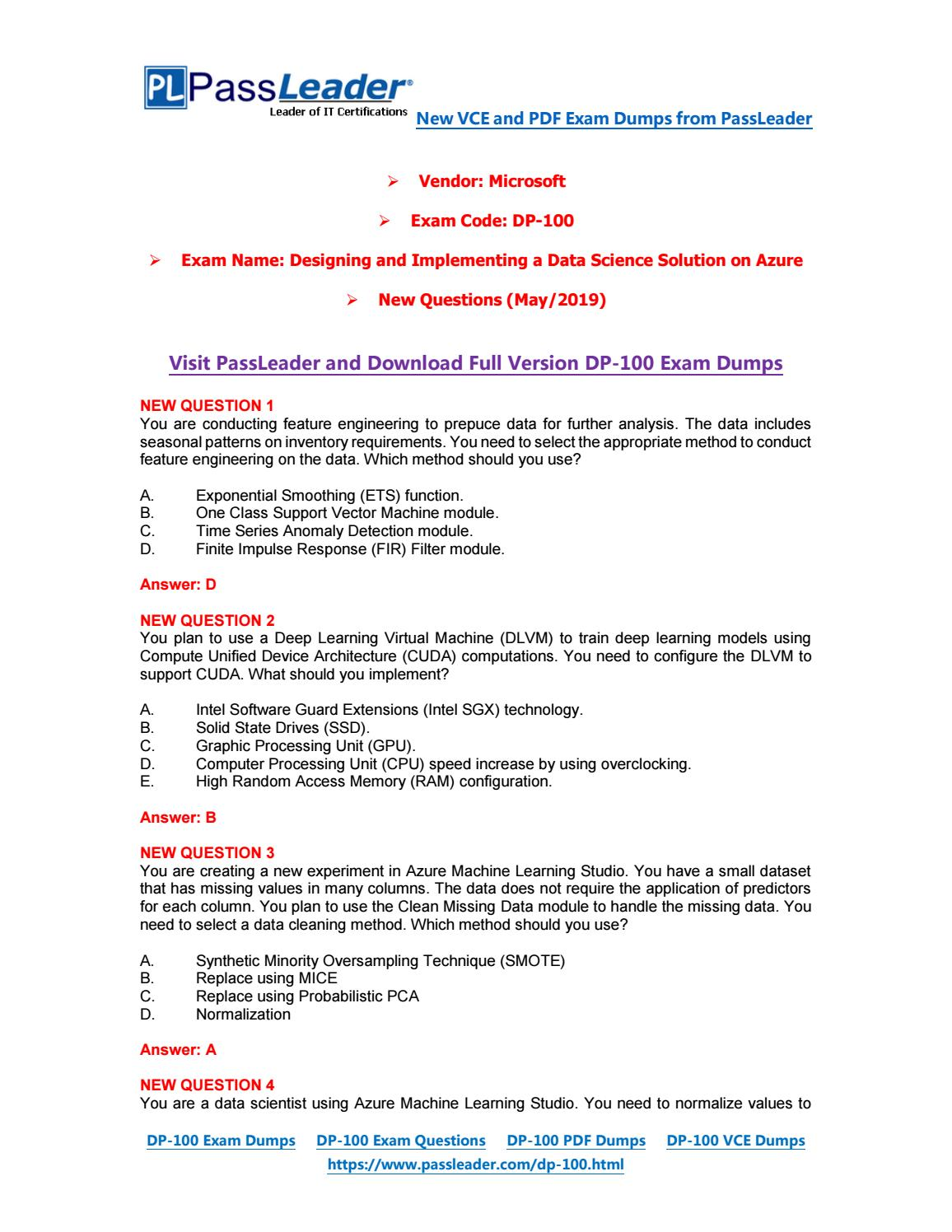 2019-New-PassLeader-DP-100-Exam-Dumps-VCE-PDF-Braindumps-Exam