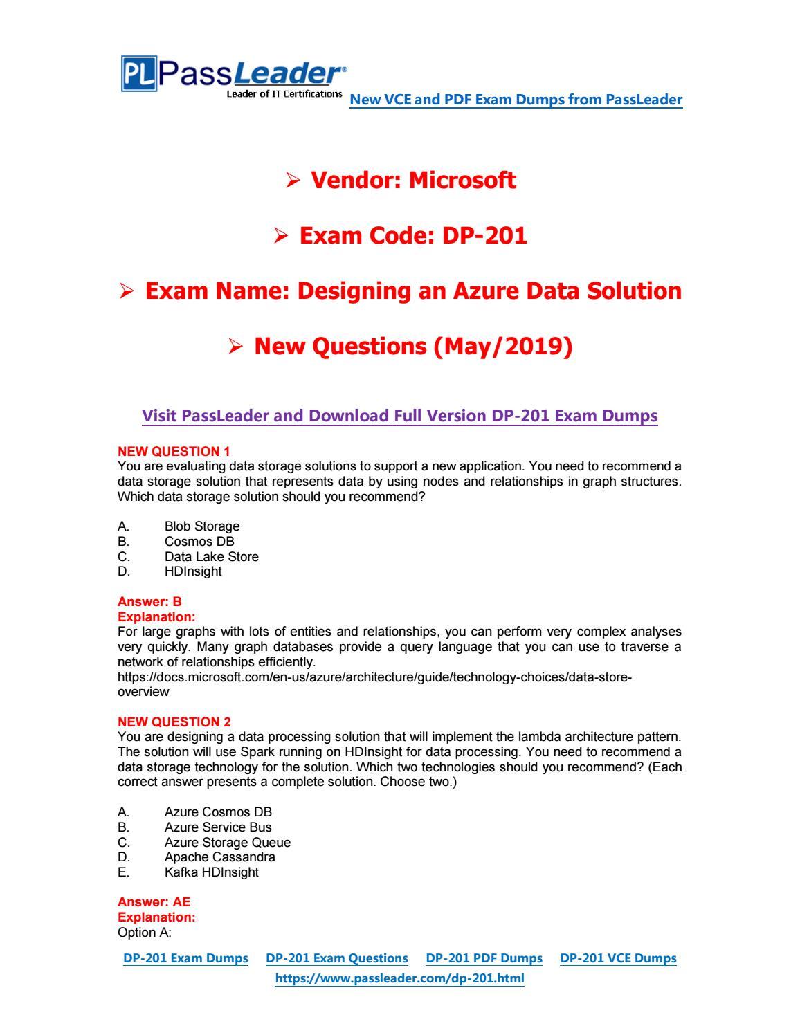 2019-New-PassLeader-DP-201-Exam-Dumps-VCE-PDF-Braindumps-Exam