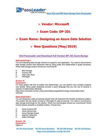 2019-New-PassLeader-DP-201-Exam-Dumps-VCE-PDF-Braindumps