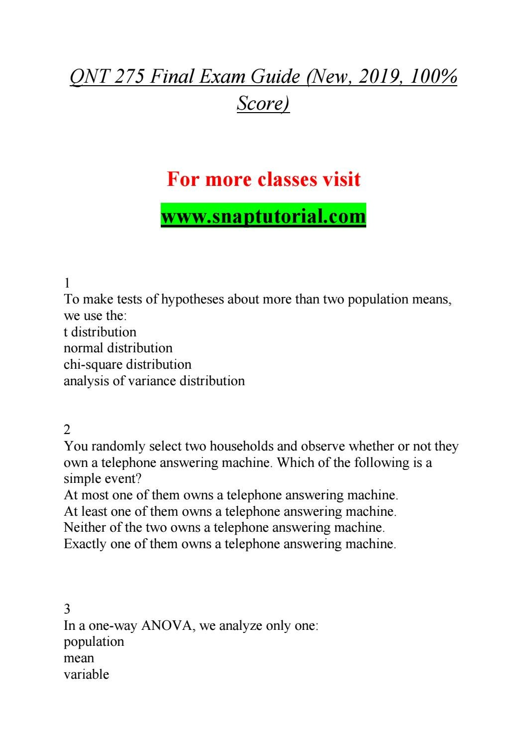 QNT 275 Enhance teaching / snaptutorial com by Bailey297 - issuu