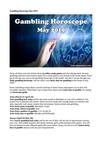 Gambling Horoscope May 2019 by johny joe - issuu