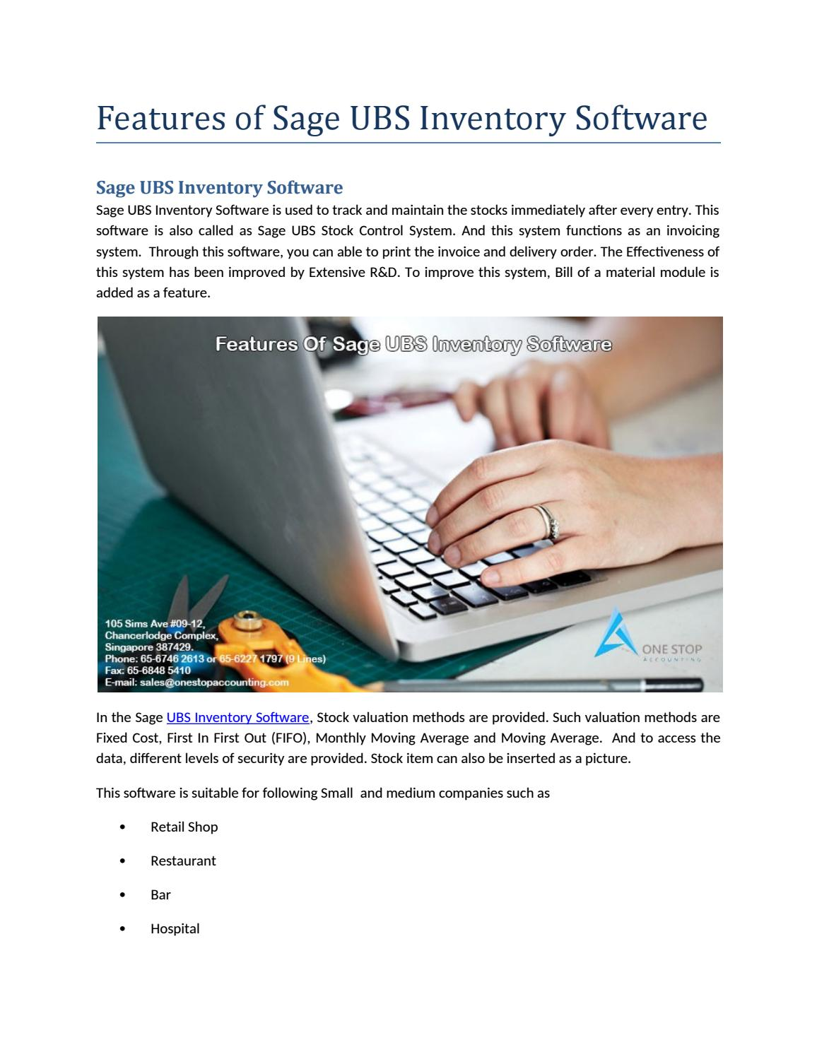 Features of Sage UBS Inventory Software by Onestopaccounting - issuu